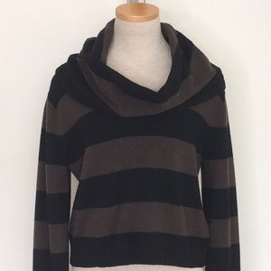 BCBGMaxazria Turtleneck Sweater Stripe Brown Black